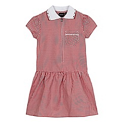 Debenhams - Girls' red gingham print ribbed collar pocket dress