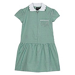 Debenhams - Girls' green gingham print ribbed collar pocket dress