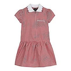 Debenhams - Girls' generous fit red gingham print ribbed collar dress