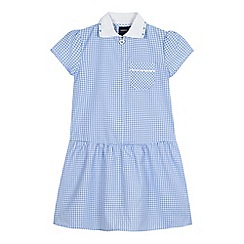 Debenhams - Girls' generous fit blue gingham print ribbed collar dress