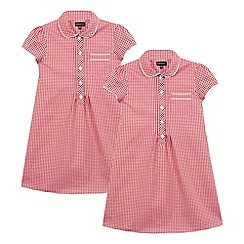 Debenhams - Girls' pack of two red gingham checked dresses