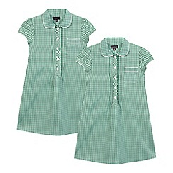 Debenhams - Pack of two girls' green gingham dresses