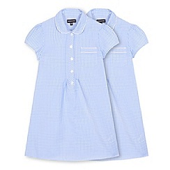 Debenhams - Girls' pack of two light blue gingham checked dresses
