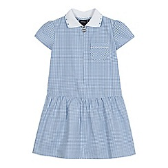 Debenhams - Girls' blue gingham print ribbed collar cotton rich dress
