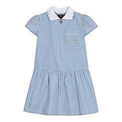 Debenhams - Girls' blue gingham print ribbed collar cotton rich dress