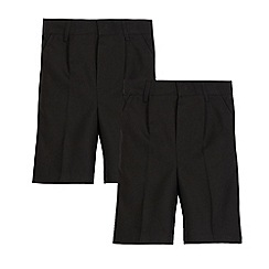 Debenhams - Boys' pack of two black school shorts