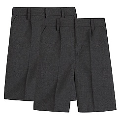 Debenhams - Boys' pack of two grey school shorts
