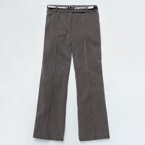 Debenhams - Girl+s grey belted bootleg school uniform trousers