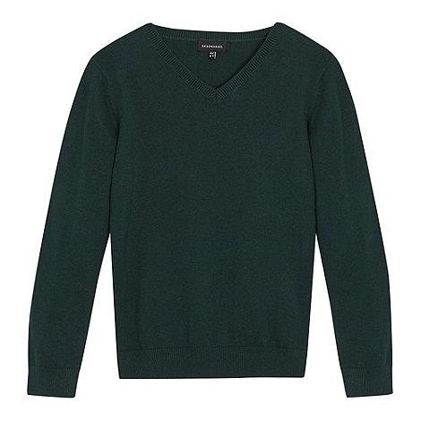 Debenhams - Green unisex vneck school uniform jumper