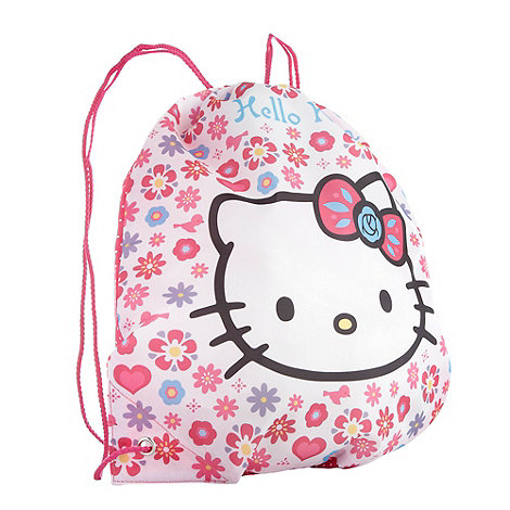 Hello Kitty - Girl+s pink spotted +Hello Kitty+ drawstring bag