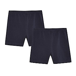 Debenhams - Pack of two girls' navy school cycling shorts