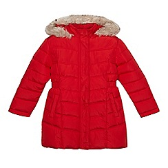 Debenhams - Girls' red long padded coat