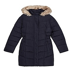 Debenhams - Girls' navy long padded coat