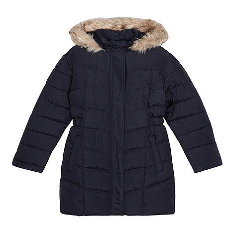 Debenhams Girlsu0026#39; Navy Long Padded Coat | Debenhams