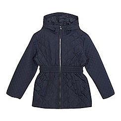 Debenhams - Girls' navy shower resistant coat