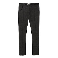 Debenhams - Girls' grey textured belted school trousers