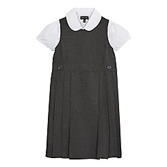 Debenhams - Girls' grey pinafore and blouse set