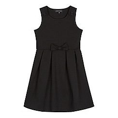 Debenhams - Girls' black bow applique pinafore dress