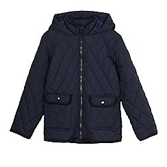 Debenhams - Boys' navy quilted hooded coat