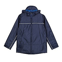 Debenhams - Boys' navy hooded shower resistant mac jacket