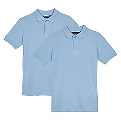 Debenhams - Children's pack of two blue, slim fit, school polo shirts