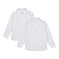 Debenhams - Pack of two boys' white slim fit shirts