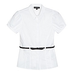 Debenhams - Girls' white belted short sleeved school blouse