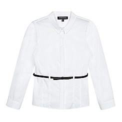 Debenhams - Girls' white belted long sleeved school blouse