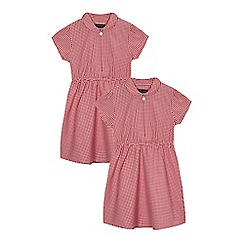 Debenhams - Pack of two girls' red gingham print dress