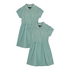 Debenhams - Pack of two girls' green gingham print dress