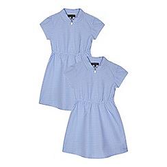 Debenhams - Pack of two girls' blue gingham print dress