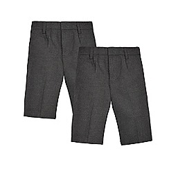 Debenhams - Pack of two grey classic school shorts