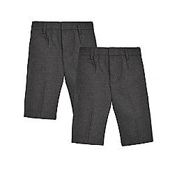 Debenhams - Pack of two grey classic school shorts