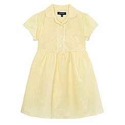 Debenhams - Girls' yellow gingham print dress