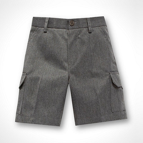 Debenhams - Boy+s grey woven cargo school uniform shorts