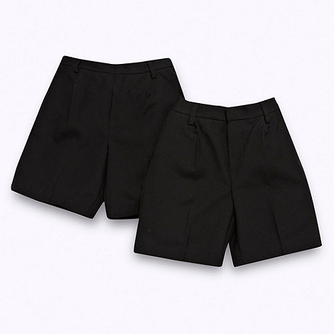 Debenhams - Boy+s set of two black smart school uniform shorts
