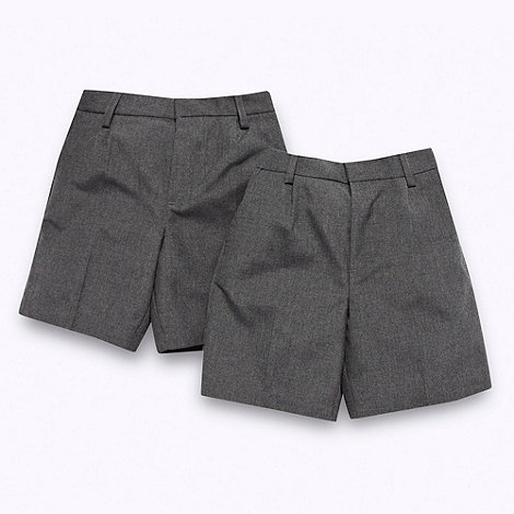 Debenhams - Boy+s set of two grey smart school uniform shorts