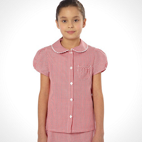 Debenhams - Girl's red pack of two gingham school uniform blouses