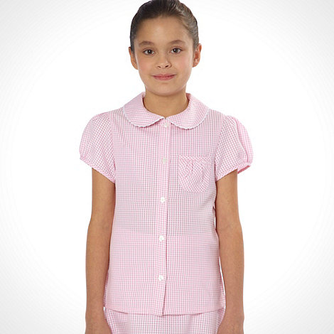 Debenhams - Online Exclusive - Girl+s pink pack of two gingham school uniform blouses