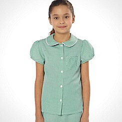 Debenhams - Girl's green pack of two gingham school uniform blouses