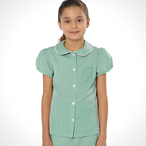 Debenhams - Girl+s green pack of two gingham school uniform blouses