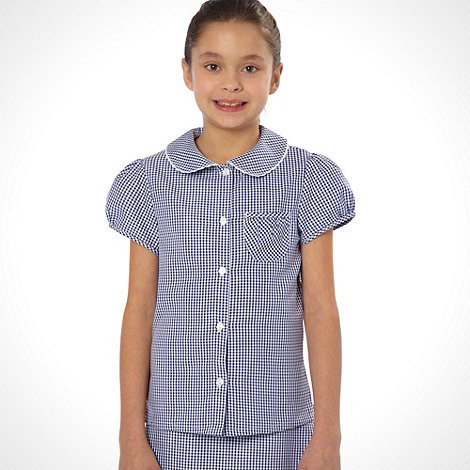 Debenhams - Online Exclusive - Girl+s navy pack of two gingham school uniform blouses