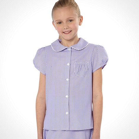 Debenhams - Online Exclusive - Girl+s lilac pack of two gingham school uniform blouses