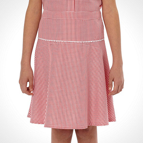 Debenhams - Girl+s pack of two red gingham school uniform skirts