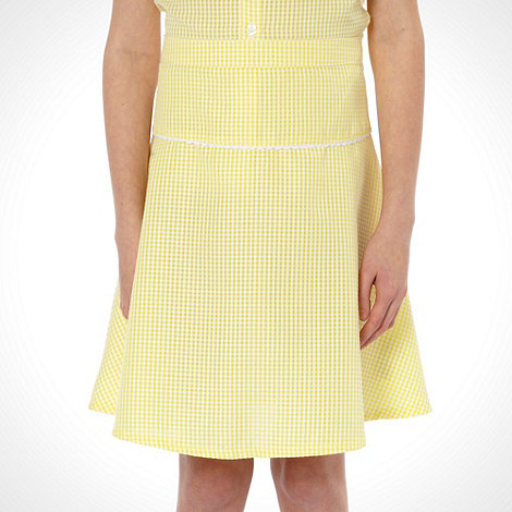 Debenhams - Online Exclusive - Girl+s pack of two yellow gingham school uniform skirts