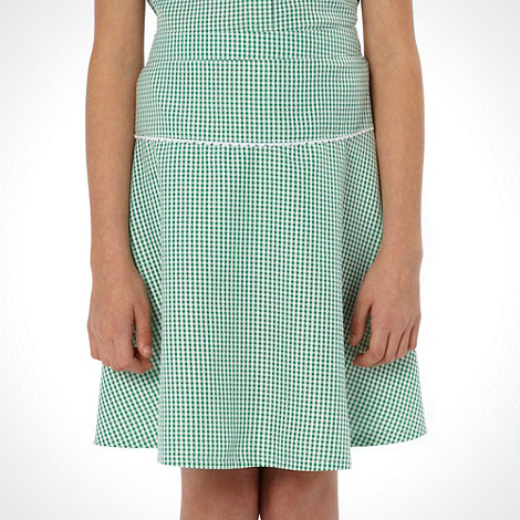 Debenhams - Girl+s pack of two green gingham school uniform skirts