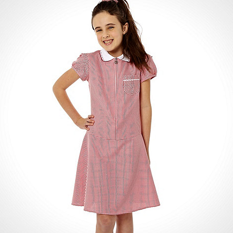 Debenhams - Girl+s red summer school uniform dress