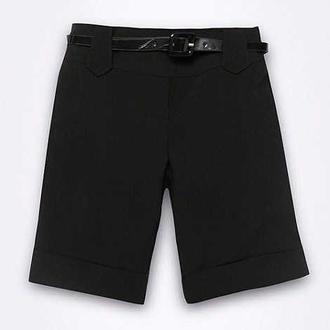 Debenhams - Girl+s black belted school uniform shorts