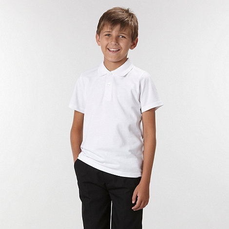 Debenhams - Unisex pack of three white school uniform polo shirts