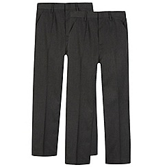 Debenhams - Pack of two boys' grey pleated school trousers